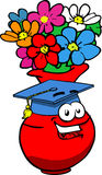 Flower vase wearing Graduation cap Royalty Free Stock Image