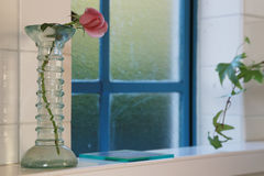 Flower of the vase by the window. Red flower of the vase near the blue window Stock Photos