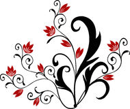 Flower - vector. Flower with red blossom - vector Royalty Free Stock Images