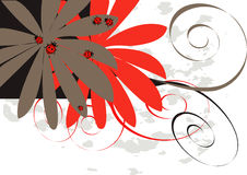 Flower vector with bugs. Vector figure, red bugs, flowers Stock Photos