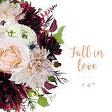 Flower Vector design card with cafe au lait & burgundy red dahli Royalty Free Stock Image