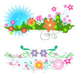 Flower vector designs on white  Royalty Free Stock Photos