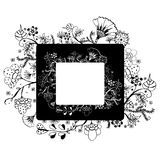 Flower vector frame on free hand drawing sketch on white background Stock Photo