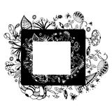 Flower vector frame on free hand drawing sketch on white background Stock Photos