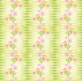 Flower Vector heart stripe seamless pattern. Flower Vector pink and yellow heart stripe seamless pattern. Stripy green seamless pattern with flower heart Stock Photos