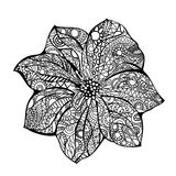 Flower vector illustration Black white hand drawn doodle. Ethnic pattern. African, indian, totem, design. Sketch for Royalty Free Stock Photo