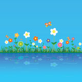 Flower vector illustration on a blue Royalty Free Stock Photos