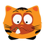 Сat with the flower. Vector image - melancholy cat with the broken flower Royalty Free Stock Photos