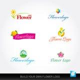 Flower vector logotypes vector set. Flowers logo templates. Floral logos stock illustration