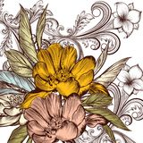 Flower vector pattern with peony and ornament Royalty Free Stock Photos