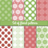Flower vector seamless patterns. Stock Images