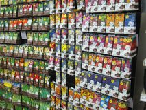 Flower and vegetable seeds in  packets. Packets of flower and vegetable seeds on show in the garden area of Wilkinson store in Bedford, United Kingdom Royalty Free Stock Photos
