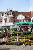 Flower and Vegetables Market in Husum, Schleswig-Holstein. Market place in the Seaport City Husum in the North of Germany with people stock photography