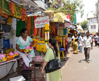 Flower vendor shop outside Mahalakshmi temple Stock Photo