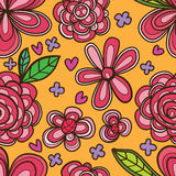 Flower vertical style stroke seamless pattern Royalty Free Stock Photo
