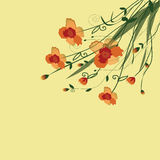 The flower vine. Beautiful vine of orange flowers with buds and stylish leaves Royalty Free Stock Photo