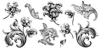 Free Flower Vintage Baroque Scroll Victorian Frame Border Floral Ornament Engraved Retro Pattern Rose Peony Tattoo Filigree Vector Stock Photography - 167507692