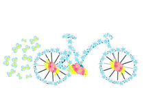 Flower vintage bicycle illustration Stock Photo