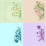 4 flower vintage color cards Royalty Free Stock Photo