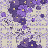 Flower violet perfume design flask Royalty Free Stock Image