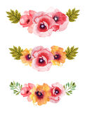 Flower watercolor background compositions Stock Photography