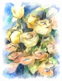 Flower watercolor  bunch of colorful roses. Hand drawn bunch of colorful roses. Flower watercolor impressionistic design. Original floral artwork Stock Photo