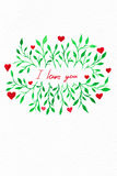 Flower watercolor.Card with water color leaves. By St. Valentine. 's Day.Watercolor background. Flower image. Flowers on an impressive surface. A card with water stock illustration