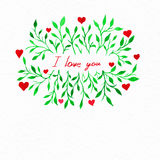 Flower watercolor.Card with water color leaves. By St. Valentine Stock Photo