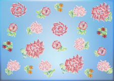 Flower watercolor. On the image is pink flowers stock photos