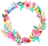 Flower watercolor wreath. For beautiful design Stock Illustration