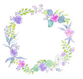 Flower watercolor wreath Stock Images
