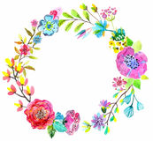 Flower watercolor wreath for beautiful design Royalty Free Stock Photos