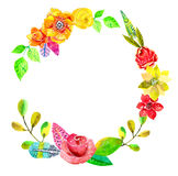 Flower watercolor wreath for beautiful design Royalty Free Stock Images