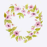 Flower Watercolor Wreath in shape of heart. Template for invitation Royalty Free Stock Photography