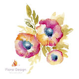Flower in watercolors Stock Images