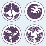 Flower and wave and leaf lotus flat simlpe vector illustraton Royalty Free Stock Photo