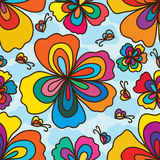 Flower wave petal butterfly sky seamless pattern Royalty Free Stock Images