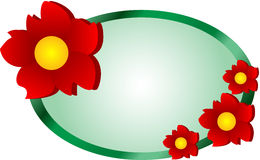 Flower Web Logo. Decorative banner or label illustration with red flowers Stock Photography