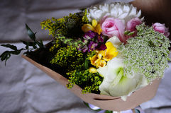 Flower wedding arrangement with ranunculus, pion Stock Images