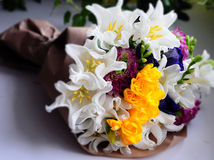 Flower wedding arrangement with ranunculus, pion Stock Photo