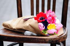 Flower wedding arrangement with ranunculus, pion, roses Stock Photography