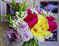 Flower wedding arrangement with ranunculus, pion, roses Stock Photo