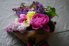 Flower wedding arrangement with ranunculus, pion, roses Stock Images