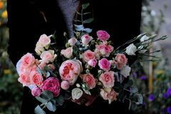 Flower wedding arrangement with ranunculus, pion, roses Stock Photos