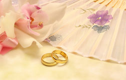 Flower with Wedding Bands Stock Photo