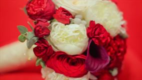 Flower Wedding Bouquet Isolated on Red Background stock footage