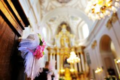 a flower wedding decoration in a church Stock Photo