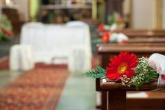 Flower wedding decoration church Royalty Free Stock Image