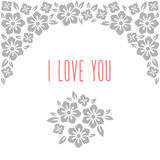Flower wedding invitation card, save the date. Greeting, i love you. Folk style Stock Photos
