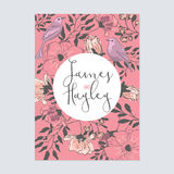 Flower wedding invitation card template. With cute pink flowers and birds Stock Photography